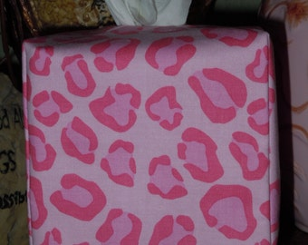 Ready To Ship - Pink Animal Print Pattern - Fabric Tissue Box Cover