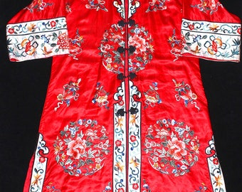 Vintage Chinese Embroidered Red Silk Satin Robe Textile Six Floral Roundels