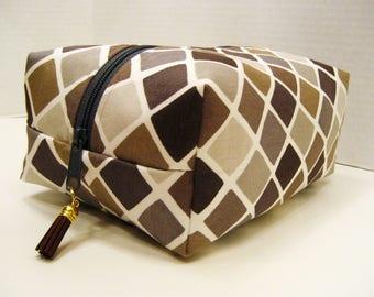 Brown and Gray Geometric Print Boxy Bag, Cosmetic Bag, Boxy Pouch, Travel Bag, Bag Organizer, Toiletry Storage Bag, Zipper Pouch, Pouch