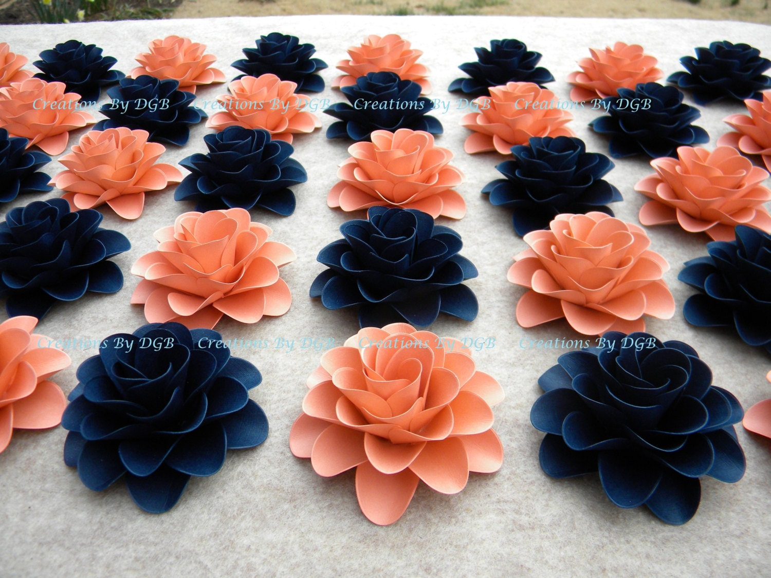 Red Coral Home Decor Paper Flowers Light Coral Or Salmon Navy Blue Flowers For