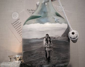 Messages In A Bottle Guestbook, Unique Personalized Guestbook Alternative With Your Photo and Hand Painted Scenery, Unique Decor, Decanter