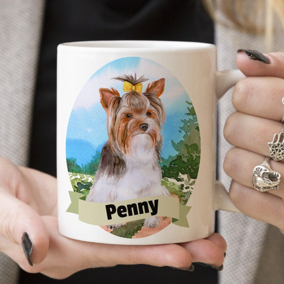 Yorkshire Terrier Custom Dog Mug - Get your dogs name on a mug - Dog Breed Mug - Great gift for dog owner - Yorkie mug