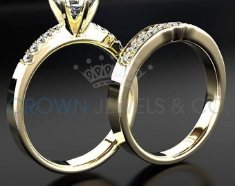 Half Eternity Wedding Band Diamond Engagement Ring Set 2.10 Carat Round Brilliant Cut D SI Women Bridal Rings In 18 Karat Yellow Gold
