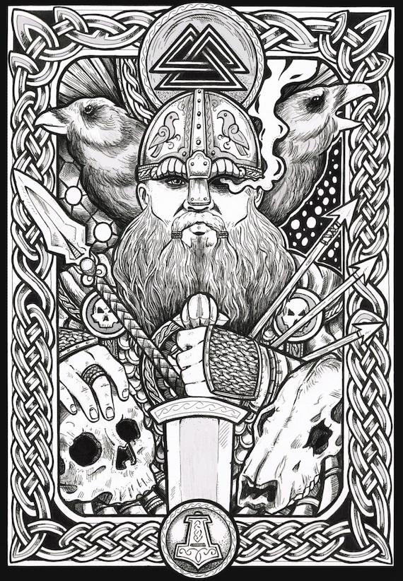 Viking art odin fantasy art print