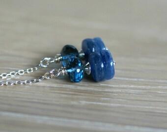 London Blue topaz, kyanite earrings, London Blue topaz ear threads, kyanite threader earrings, sterling silver thread earrings, gift for her