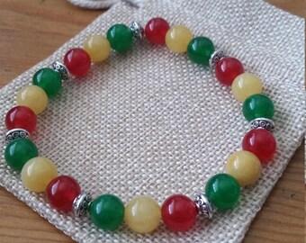 Rasta Colorful Beaded Bracelet, Rasta Colors, Reggae Colors, Rasta Bracelet, Reggae Bracelet, 8mm Beads