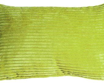Wide Wale Corduroy 12x20 Green Throw Pillow