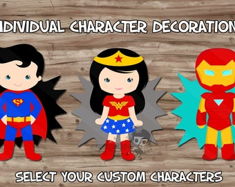 Superhero Birthday Party Supplies, Diy Character PopUps Decorations Table Centerpiece Decor, Digital Printable, CUSTOM Selected JPG or PDF