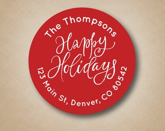 Happy Holidays Christmas Address Label Christmas Return Address Stickers Return Address Label Red Address Label Address labels for Cards
