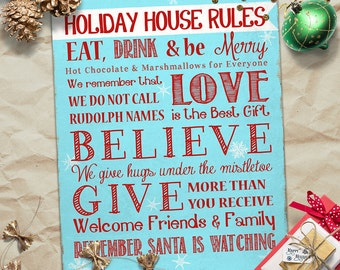 Holiday House Rules - Christmas Decor - Subway Art Print - 8 X 10 - Instant Download - Typography - Vintage - Distressed, Fun Fonts