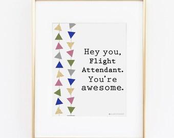 Flight Attendant | Flight Attendant Gift | Stewardess | Hey You Flight Attendant Printable Art | Airplane Art | Aviation Art | Airplane