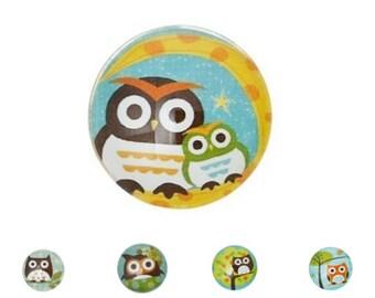 Round cabochon glass owls