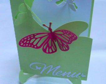 Petite butterflies on matching invitation (model Wai'anae) butterflies easel card.
