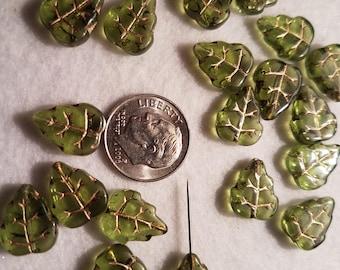 50 Clear Olivene Green Glass 10mm Leaf Beads
