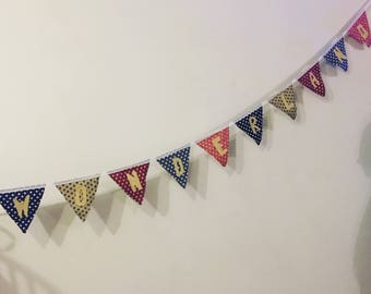 Wonderland Bunting. Vintage-inspired fabric bunting perfect for a child's birthday party, nursery or bedroom!