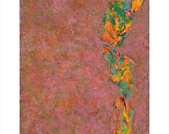 Bright, energetic, Giclee Print, Fine Art Print, Pink, green, orange, painting, Abstract Art, Contemporary Art, Wall Print, Modern Art Print