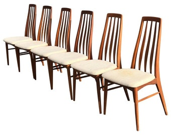 "Set of Six Teak ""Eva"" Chair by Niels Koefoed for Hornslet Mobelfabrik in Tea"