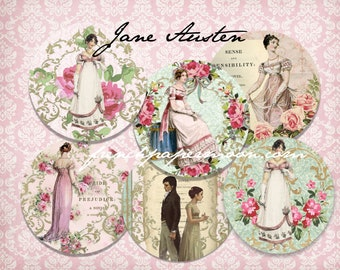 "Shabby Jane Austen Printable, 3"" circles Digital Download, Pride and Prejudice, Digital Sheet, Regency Fashion, Collage"