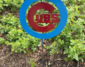 Chicago Cubs yard garden stake, home decor, baseball art, gifts, metal sign, yard decorations, yard sculpture, Chicago, Cubs