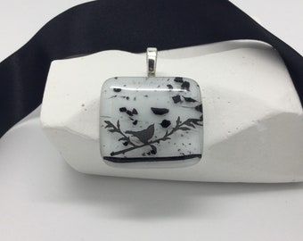 Black and White Bird Pendant-Square Fused Glass Pendant