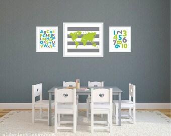 Playroom World Map Abc 123 Art Prints - Turquoise Green Slate Grey - Alphabet and Numbers Art Prints - Playroom Wall Art