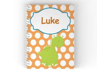Dino Personalized Notebook - Dino Dinosaur Orange Polka Dot with Name, Customized Spiral Notebook Back to School