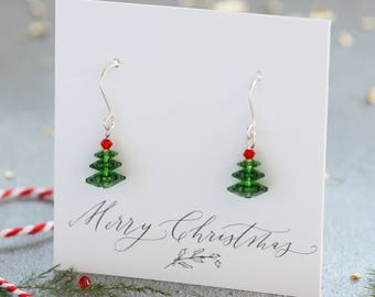 Swarovski crystal christmas tree earrings, christmas tree earrings, christmas jewellery, festive earrings for her, christmas gift ideas
