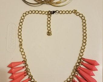 "Vintage necklace bright pink plastic ""icicles"" w 5 gold bangle bracelets"