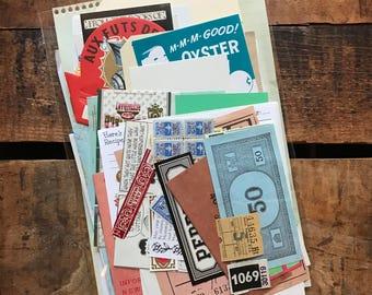 Vintage Ephemera Lot - Set of 50 Assorted Pieces - Mixed Media Paper Pack, Vintage Paper Ephemera, Collage, Altered Art, Junk Journals