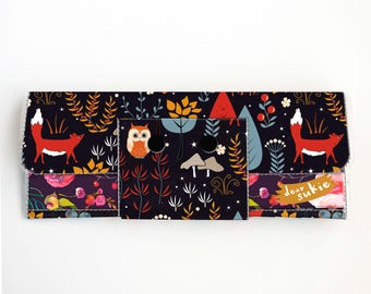 Vinyl Long Wallet - Autumn Forest / fox wallet, vegan, pretty, large wallet, clutch, card case, vinyl wallet, handmade, woodland, owl