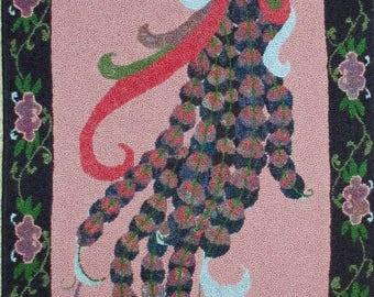 Bird of Paradise hand-hooked rug