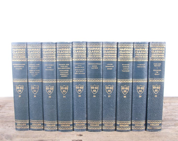 Featured listing image: 1910 Harvard Classics Book Set / 10 Volume Set / Collier & Son / Old Antique Black Books / Antique History Books / Old Books Vintage Books