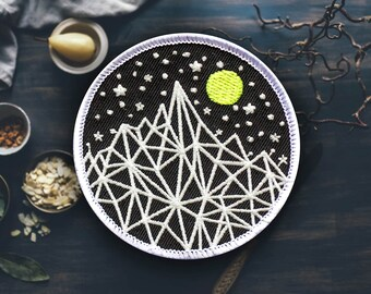 "Glow Mountain Patch | Sew On | Embroidered | Patches for Jackets | 2.75"" (Free Shipping US)"