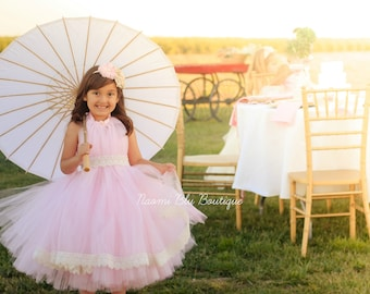 Naomi Blu High Neck Flower Girl Tutu Dress in Pink with Lace Trim. Wedding, Flower Girl