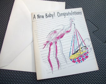 """Vintage 1970's Greeting Card - """" A New Baby Congratulations"""" with envelope - Unused"""
