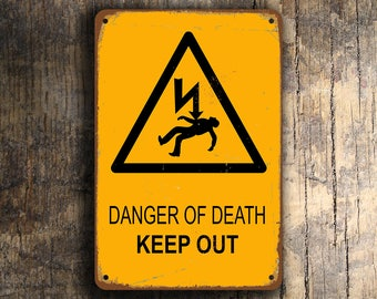 DANGER of DEATH SIGN, Danger of Death Signs, Danger Signs, Vintage style Danger Sign, Keep Out Signs, Man Cave Decor, Danger Kids Room Signs