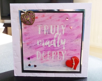 Female Birthday/Just Because Card - Hearts- luxury quality bespoke UK handmade - Mum/Grandma/Daughter/Aunt/Niece/Sister