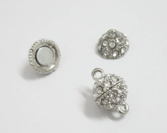 5pcs 12mm Rhinestone Magnetic clasp Strong magnet Open Crystal Ball Clasp
