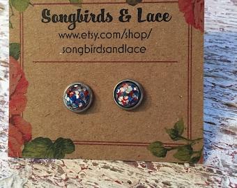 Red white & blue glitter earring- 8mm