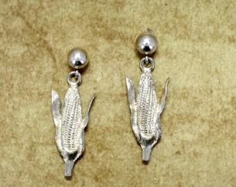 Corn Jewelry Earrings, 925 Sterling Silver Corn Earrings