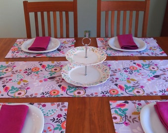 Lavender and Blue Table Runner with Birds and Flowers, Reversible, Spring Tablerunner, Magenta, Fuchsia, Orange, Pink, Felicity, 14 x 84