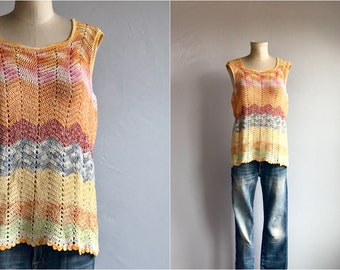 Vintage Crochet Top / 1970s Hand Made Bohemian Zig Zag Lace Knit Tank Sweater