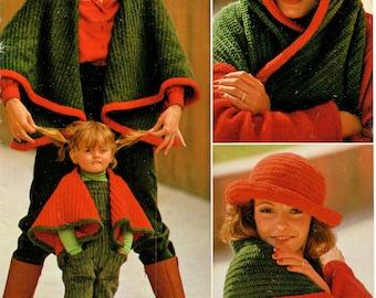 Tyrollean Cape + Hat • 1970s Crochet Shawl Wrap Pattern • Vintage 70s Crocheting Wedding Stole Patterns • Retro Yarns • Instant Download