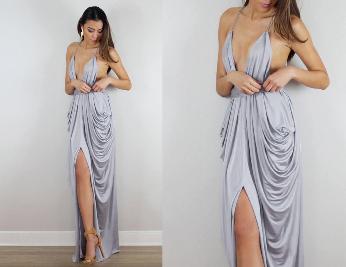 Silber Brautjungfer Kleid grau Brautjungfernkleid Hochzeit