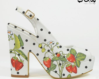 SWEET POLKA - polka dot wedge hand painted shoes, strawberry, flowers, retro, fashion, heels