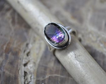 Mystic Quartz Sterling Silver Ring