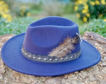 Dark Blue Felt Fedora hat style Elvira. Wide brim. Elegant accessory. Autumn Winter.