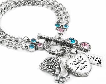 New Mom Bracelet, Personalized Mother's Day Gift, Baby Shower Gift, First Mother's Day, Engraved Childs name, Mother and Child Birthstone