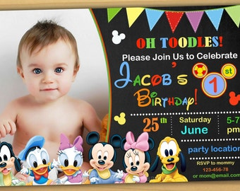 Mickey mouse 1st Birthday Invitation, mickey mouse clubhouse first birthday invitation, mickey mouse first birthday invitation - Digital