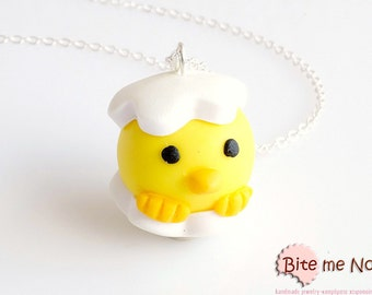 Newborn Chick Necklace, Miniature Polymer Clay Necklace, Easter Jewelry, Easter Gift, Kawaii Jewelry, Cute Jewelry